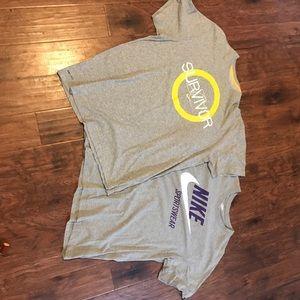 Men's grey Nike short sleeve t-shirts.
